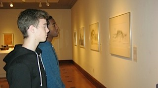"Akrem Ahmed and Josh Sholts, students from Burris Laboratory School viewing ""Great Things from Small Packages: The Drawing and Small Sculpture Shows."""